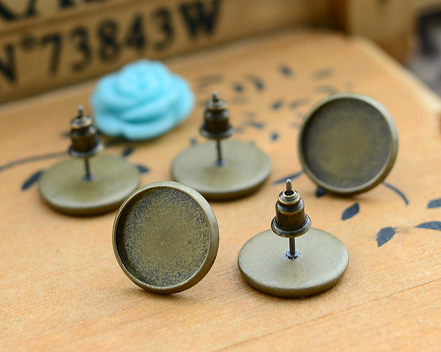 12mm 20pcs Antique Bronze Plated Earring Studs,Earrings Blank/Base,Fit 12mm Glass Cabochons,Buttons;Earring Bezels (L4-02)12mm 20pcs Antique Bronze Plated Earring Studs,Earrings Blank/Base,Fit 12mm Glass Cabochons,Buttons;Earring Bezels (L4-02)