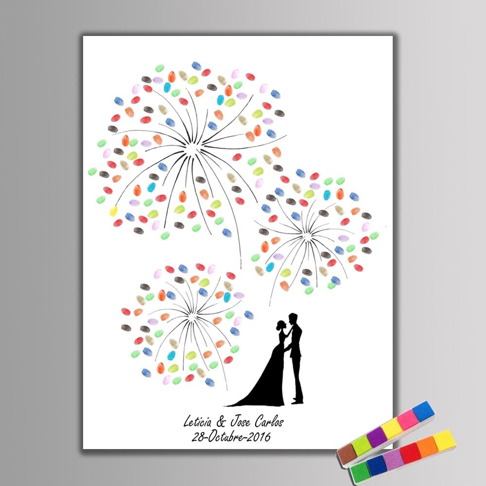 ¡Caliente! Impresión digital lienzo pintura fuegos artificiales boda Regalo boda decoración invitado libro beso novia novio Unid 2 PC inkpad