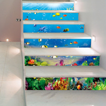 18x100CM/7.1×39.4″ 6PCS/SET Sea Animals Tile Stair Sticker 3D Printing Removeable Waterproof Wallpaper Decor Home Decorations