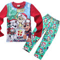 TL-01, paw dog, christmas, 4sets Children boys girls pajamas, long sleeve sleepwear clothing sets for 3-7 year.
