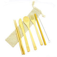 Organic Bamboo Utensils Set Premium Quality Reusable Cutlery Biodegradable Straw Natural Spoon Fork Knife