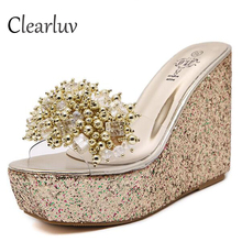 Summer new womens transparent rhinestones wedges slippers high-heeled muffin bottom banquet wedding platform sandals C1323