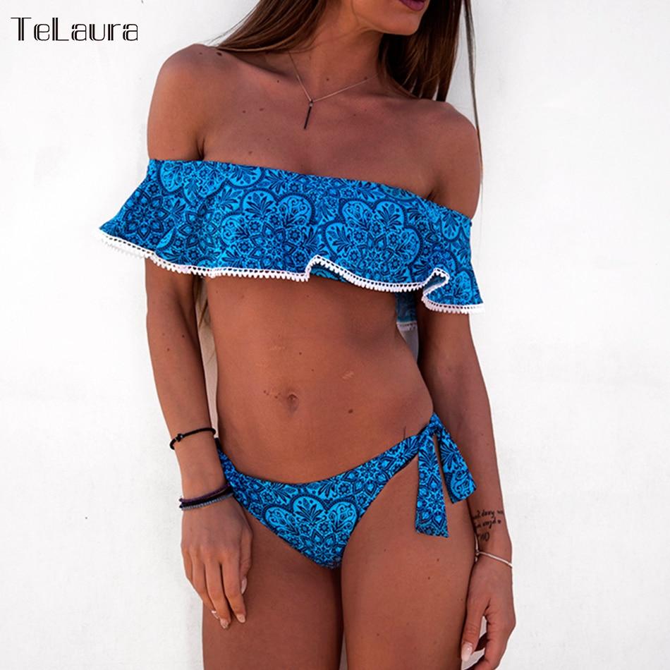 Chinesebloggie Comprar 2018 Sexy De Cintura Alta Bikini Traje Baño Trajes Mujeres Hombro Vendaje Impresión Online Baratos