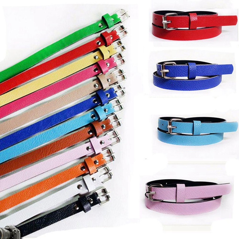 Sweetness Women Faux Leather Belts Candy Color Thin Skinny Waistband Adjustable Belt S72 Women's Belts