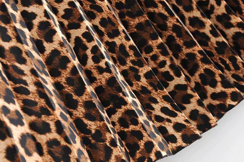 2019 Leopard Pleated Skirt with Bow Belt High Street Women Animal Print Midi Skirts 15
