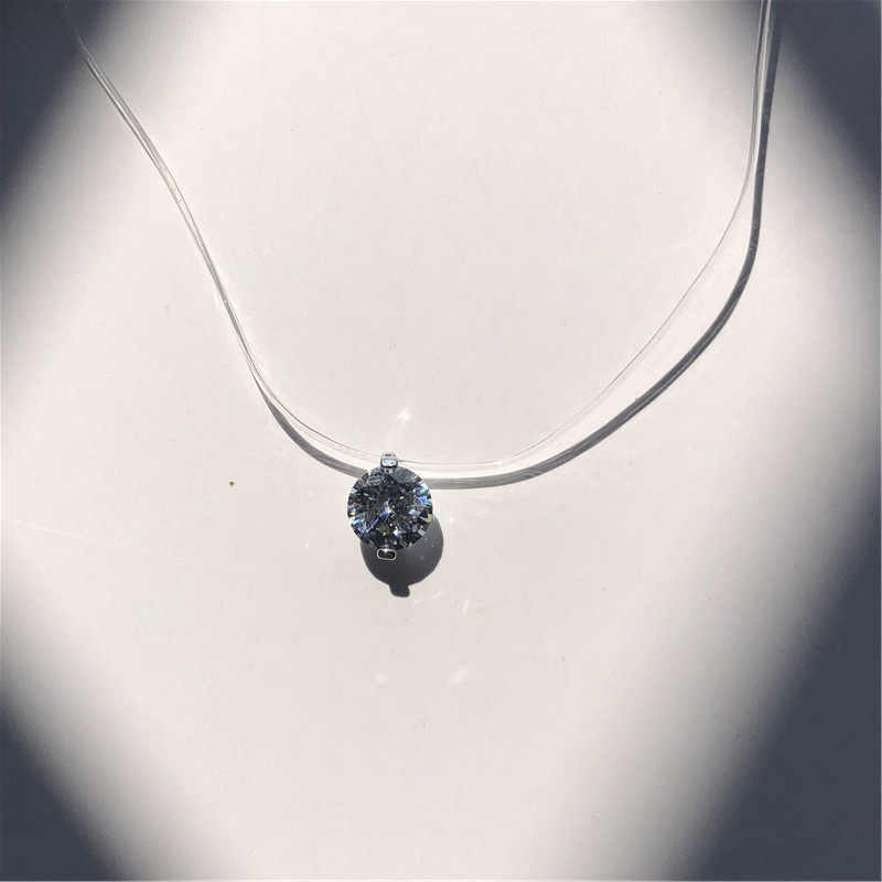 2019 New Women Transparent Fishing Line Necklace Invisible Chain Necklaces Pendants Rhinestone Choker Necklaces Fashion Jewelry