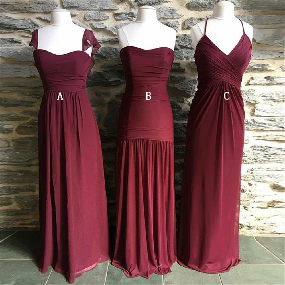 3 Styles Long   Bridesmaid     Dresses   Strapless A Line Floor Length Chiffon Wedding Party Gowns 2019 New Maid Of Honor   Dress   Cheap
