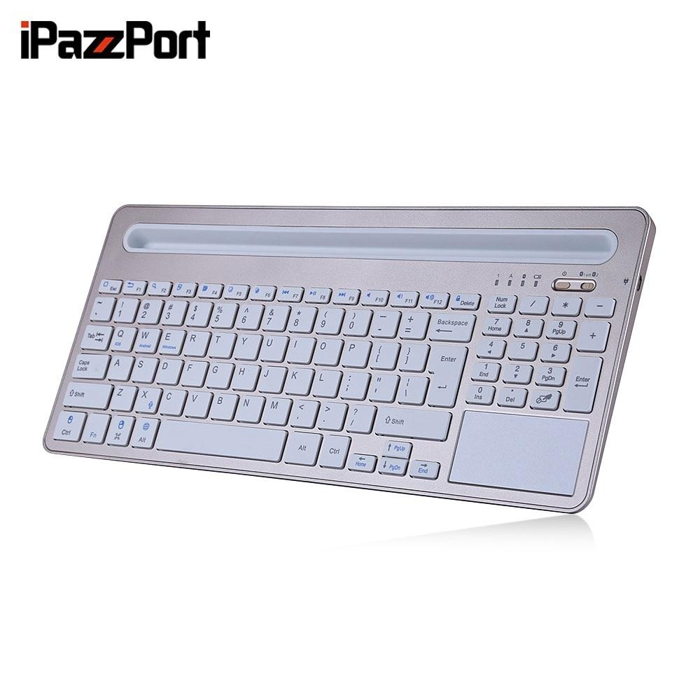 iPazzPort 85BT Wireless Bluetooth 3.0 Keyboard BT3.0 Micro USB Mini 96 Keys With Tablet Holder for iOS Android Windows Mac OS цена