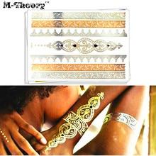 M-Theory Gold Metallic Temporary Tattoos Body Arts Choker Flash Tatoos Stickers 21x15cm Fake Tatto Swimsuit Bikini Dress Makeup