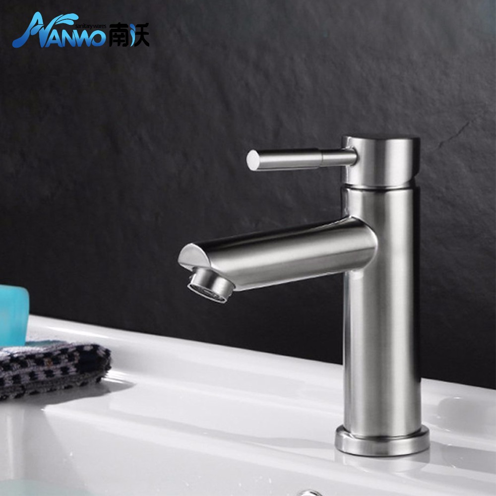 Basin Faucet 304 Stainless Steel Bathroom Faucet Brass Vessel Sink ...
