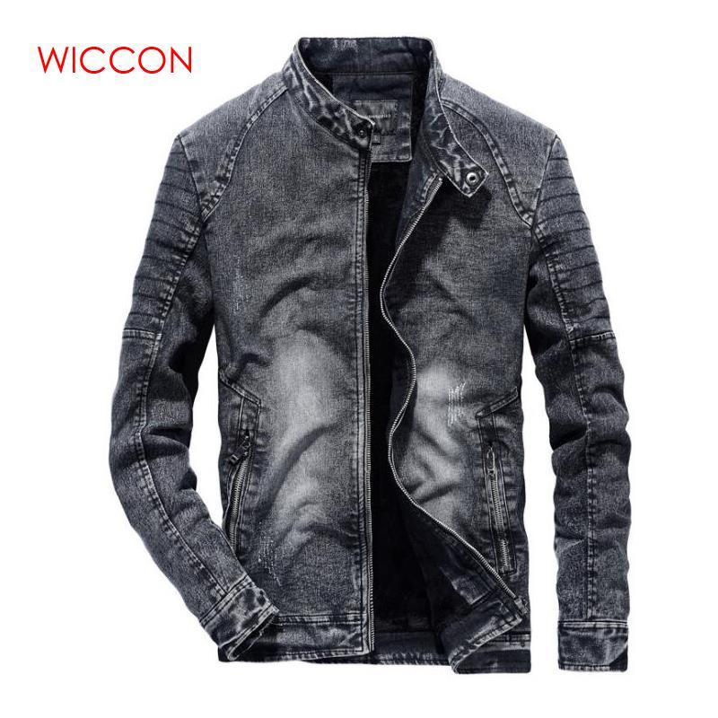 2019 mode Vintage vêtements nouveau Denim vestes hommes Slim Fit couleur unie décontracté hommes Jeans manteau pour hommes noir bleu