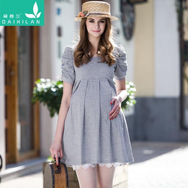 c07b7077d Moda de verano de la maternidad vestidos ropa para mujeres embarazadas ropa  del o-cuello
