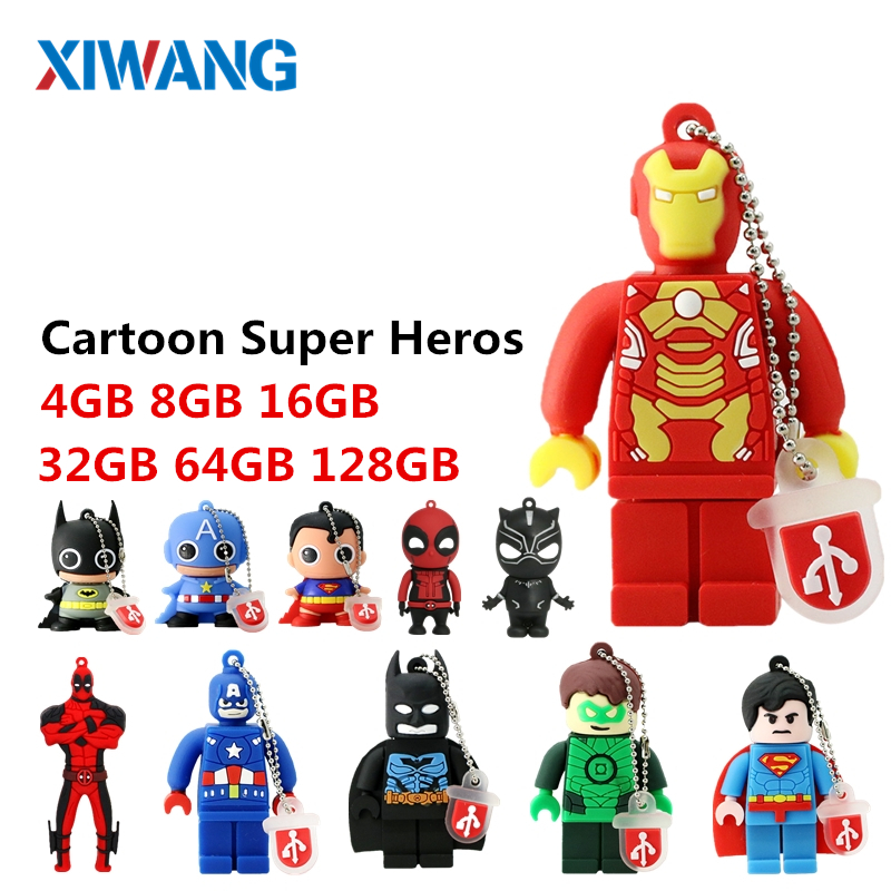 Image 1 - Cartoon Batman Superman Pen Drive 64GB 32GB USB Flash Drive 16GB 8GB 4GB PenDrive Super Heros flash memory stick gift u disk-in USB Flash Drives from Computer & Office