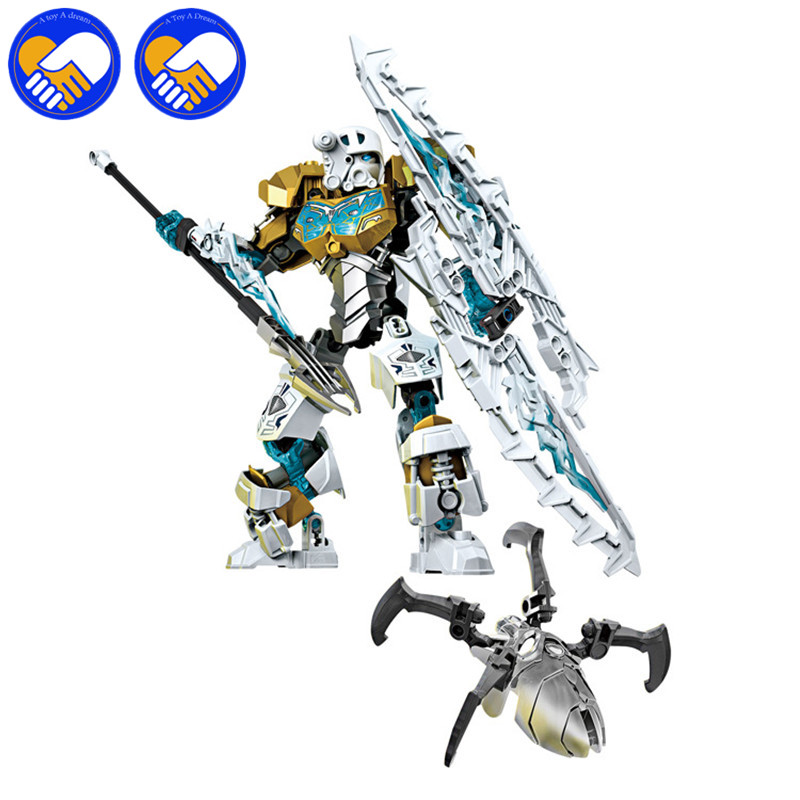 A TOY A DREAM Bionicle Mask of Light XSZ 708-2 Children's Kopaka Monster Of ICE Bionicle Building Block Toys BL052 bionicle series xsz 706 jungle rock water earth ice fire protecto action building block p073