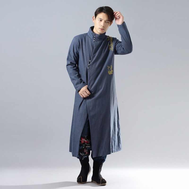 Традиционная китайская одежда для мужчин мужское пальто Верхняя одежда Восточный зимний Тренч Мужская одежда Тренч 2018 AA4391