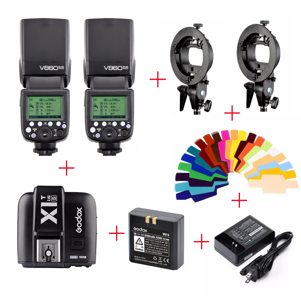 Godox V860II V860II-S TTL  Li-ion Battery Speedlite Flash For Sony + X1T-S Transmitter + Color Filter + S-type Bracket Mount godox x1t s ttl 2 4g wireless trigger for sony 2x xtr 16s flash receiver for v850 v860 c v850ii v860iic v860n v860ii f v850ii