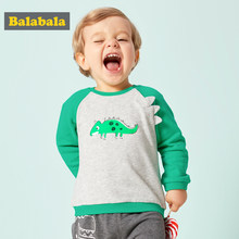 Balabala Baby Boy 3D Cartoon Dinosaur T-shirts Infant Newborn Baby Raglan Long Sleeve T-shirt Tops with Contrast Sleeves and Hem(China)