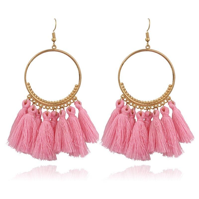 2019 New Fashion Bohemian Tassel Gold Metal Long Earrings White Red Silk Fabric Drop Dangle Tassel Earrings for Women Jewelry