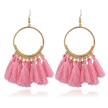 2019 New Fashion Bohemian Tassel Gold Metal Long Earrings White Red Silk Fabric Drop Dangle Tassel Earrings for Women Jewelry(China)