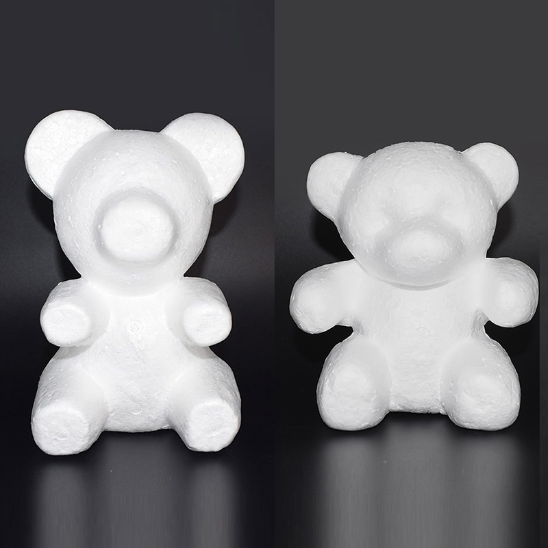 1Pcs Polystyrene Styrofoam White Foam Bear Mold Artificial Rose Flower Head Teddy Valentine 39 s Day Gifts Party Wedding Decoration in Artificial amp Dried Flowers from Home amp Garden
