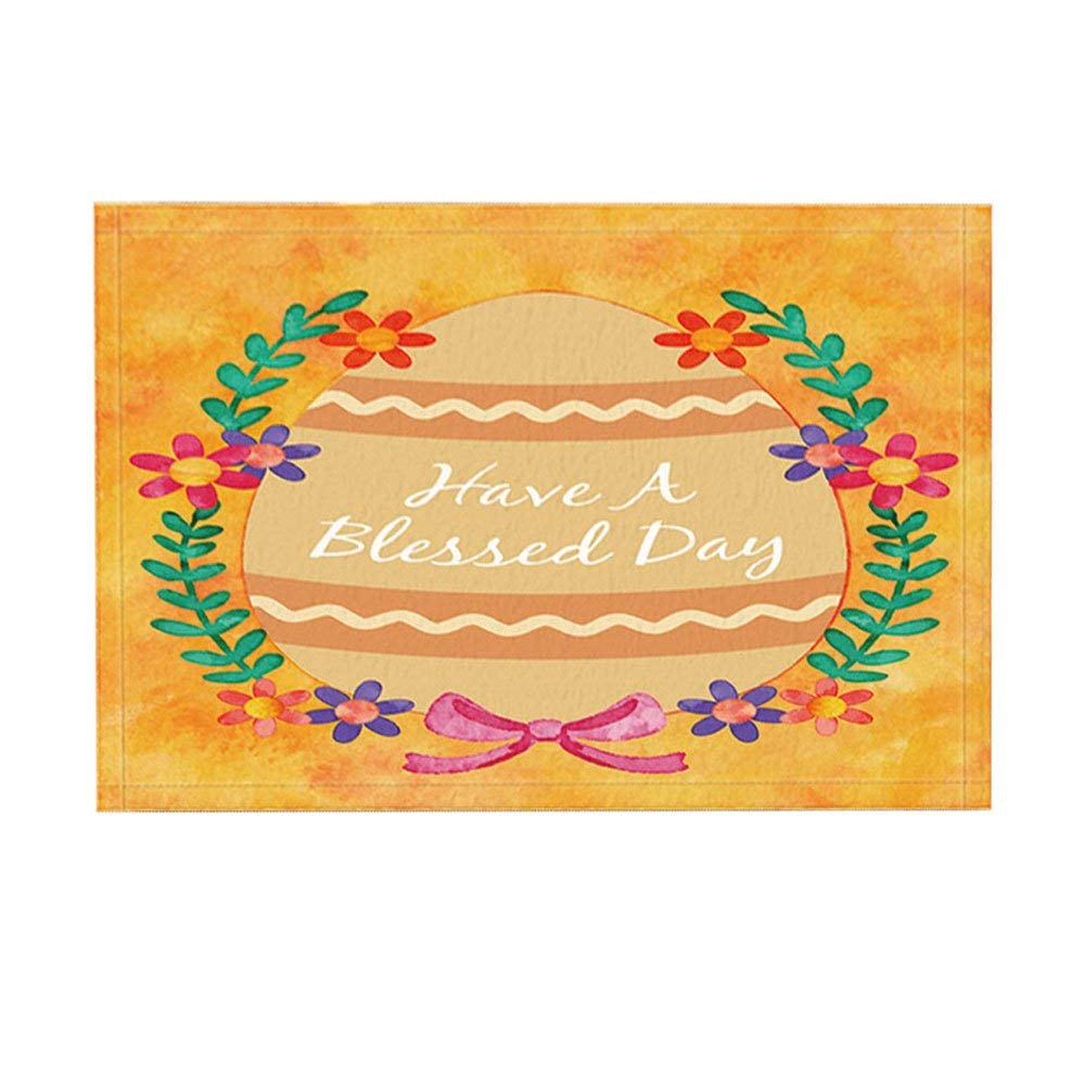 Easter Bath Rugs By, Cartoon Painted Eggshell Benediction Have A Blessed Day, Non-Slip Doormat Indoor/Outdoor Doormat