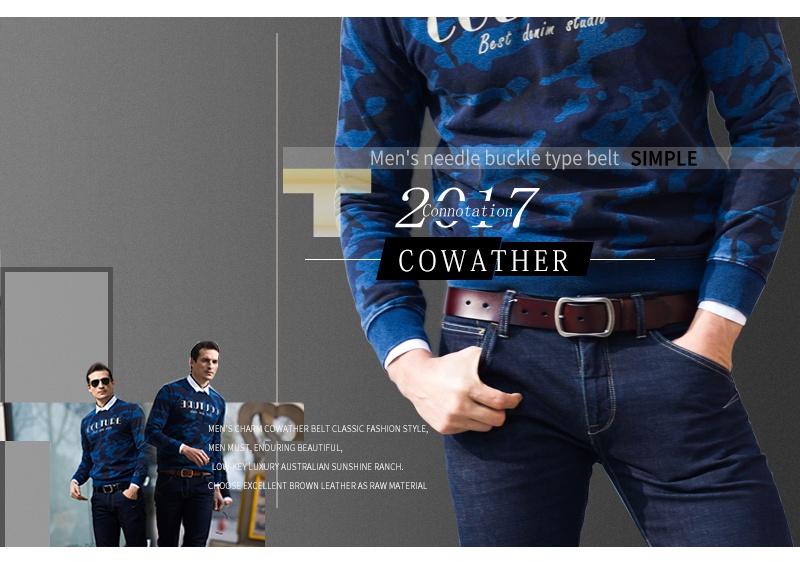 حزام COWATHER جلد طبيعي للرجال 36