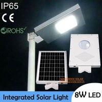 Barato ¡IP65 resistente al agua! Iluminación Solar LED de 8W para exteriores, Panel Solar de 15W con batería 6AH todo en uno, lámpara Solar de pared integrada para exteriores