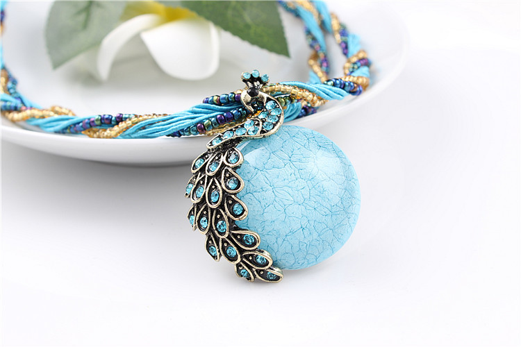 ZOSHI Blue natural crystal stone pendant necklace fashion peacock pendant necklace for women jewelry 13