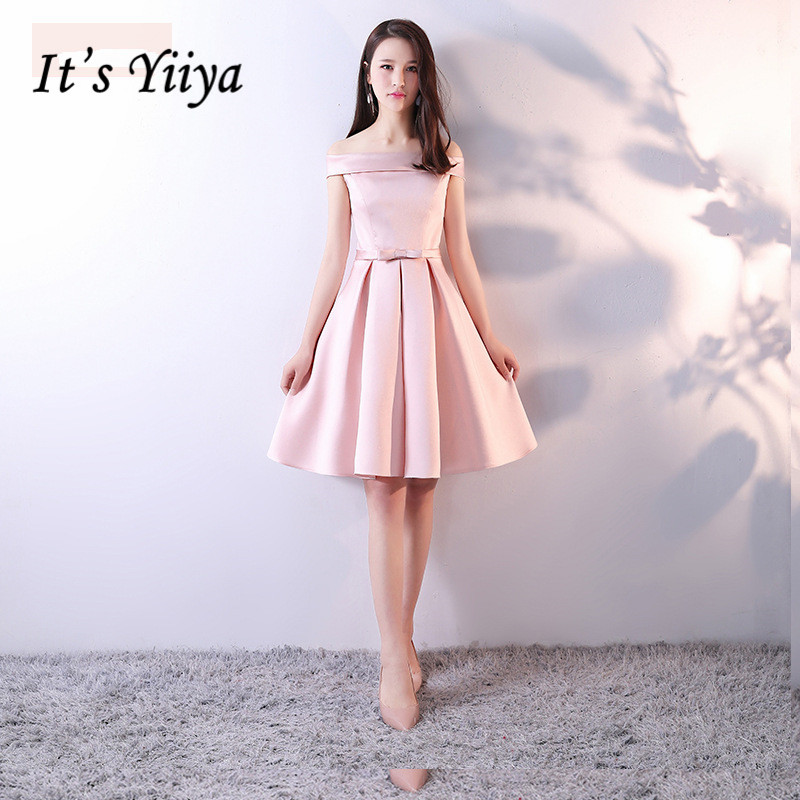 It's Yiiya Luxury Pink Boat Neck Off The Shoulder S Cocktail Dresses Knee-Length Party Formal Dress MX017