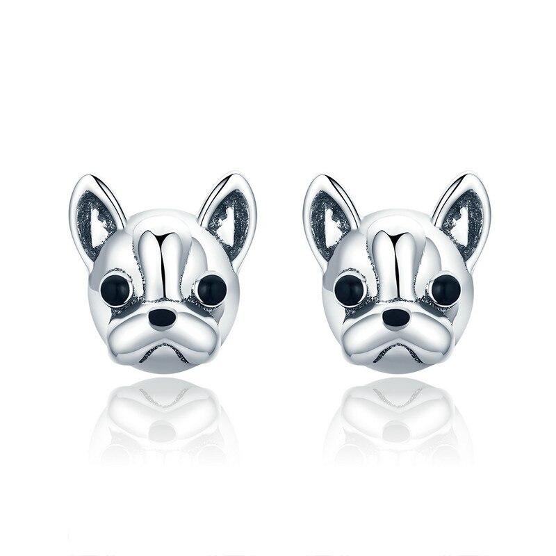 100% 925 Sterling Silber Loyal Partner Französisch Bulldog Hund Tier Kleine Stud Ohrringe Für Frauen Ohrringe Schmuck Sce283 Bamoer Ein Bereicherung Und Ein NäHrstoff FüR Die Leber Und Die Niere