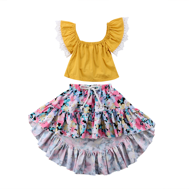 d98cd3514f6 2018 Newborn Kids Baby Girl Lace Off Shoulder Yellow Tops Floral Skirt  Summer Set Outfit Sundress