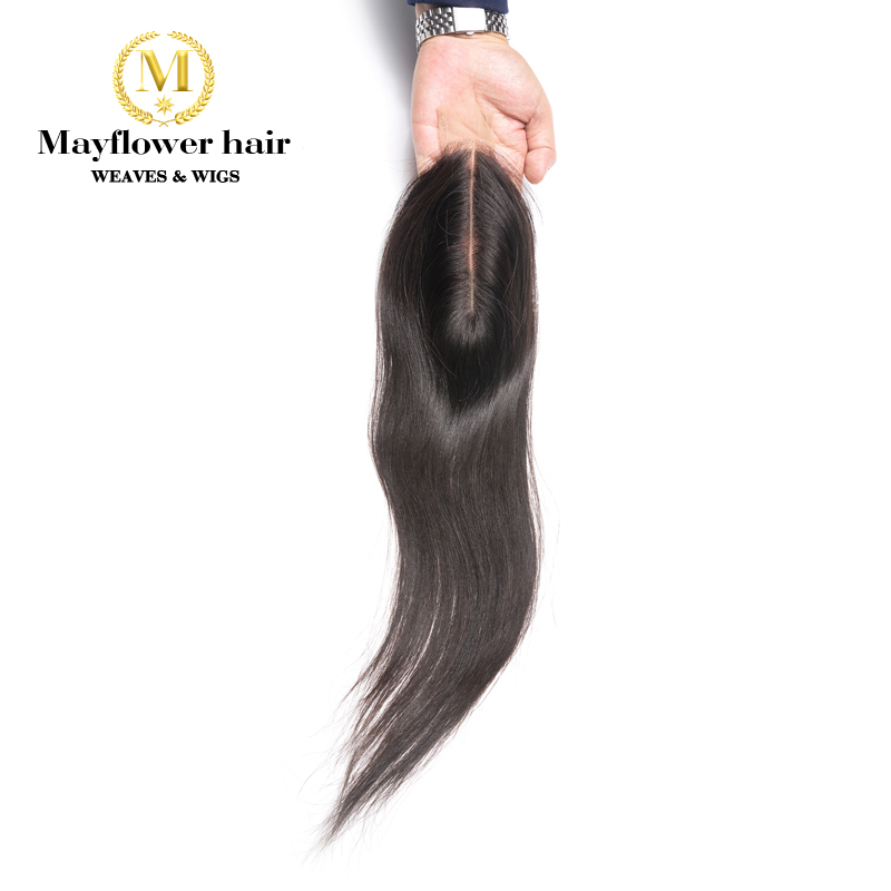 "Mayflower 2X6"" Kim Lace Closure Straight Virgin Hair Full Hand Tied With Baby Hair Line No Tangle No Shedding Long Parting"
