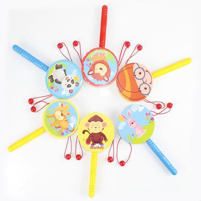 1 Pc Kreative Neue Cartoon Holz Rassel Kinder Blasen Welle Trommeln Schwingen Puzzle Frühen Pädagogisches Spielzeug Für Kinder Lustige Spiele