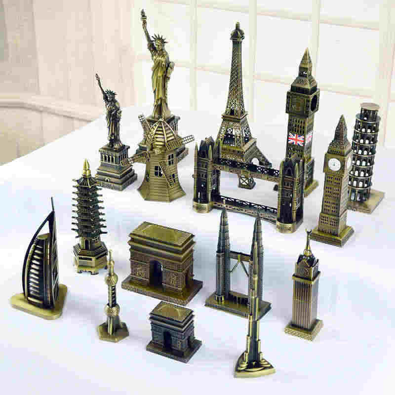 World famous landmarks Construction Metal Pyramid  Empire State Building Khalifa Model Desktop decoration Ornament Creative Gift
