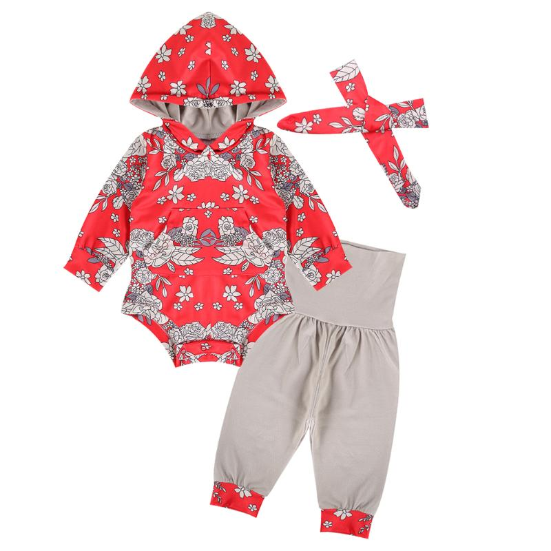 3pcs/Set Baby Girl Clothes Newborn Infant Baby Romper Flower Long Sleeve baby Clothing Outfit Hooded Romper Headband Pants