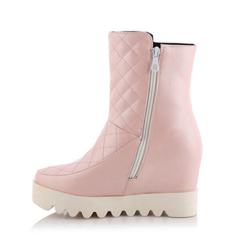 Winter Women Shoes ankle boots for women Female Elevator Flat Snow Boots Platform Cotton-padded Shoes botas mujer k372