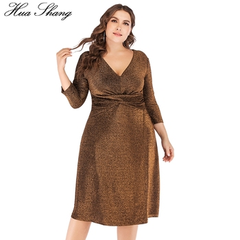 Sequined Party Dresses For Evening 2018 Women V Neck Three Quarter Sleeve High Waist Midi Dress 5XL 6XL Plus Size Women Clothing