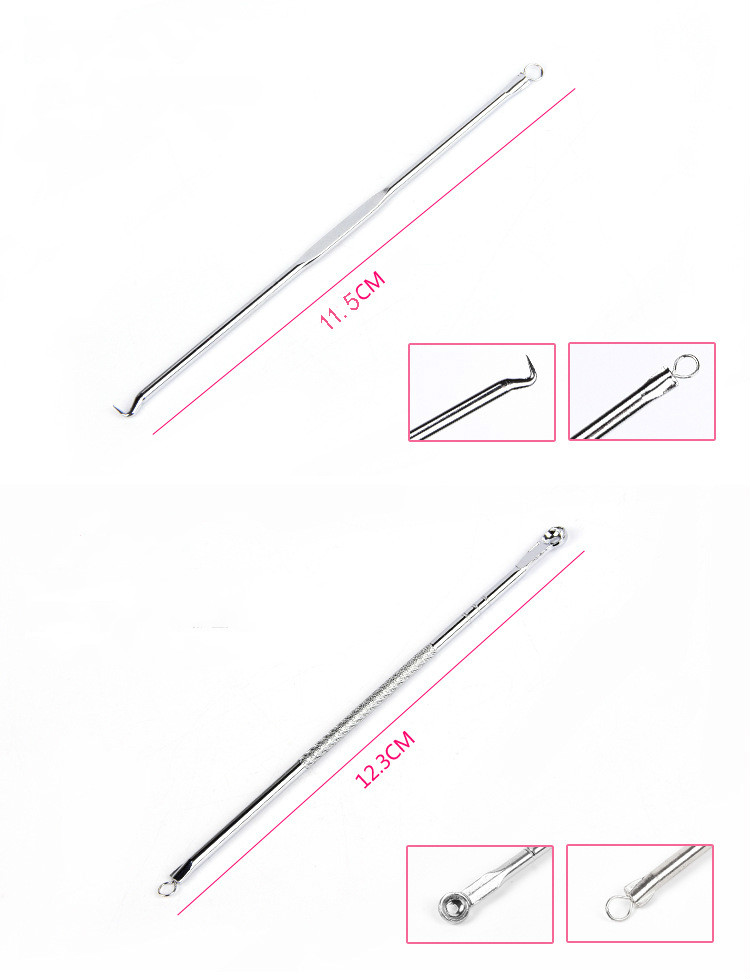 LaMilee 4pcs/set Blackhead Comedone Acne Pimple Blackhead Remover Tool Spoon for Face Skin Care Tool Needles Facial Pore Cleaner 5