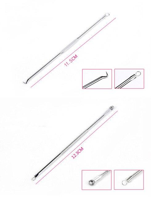 Lamilee 4 개/대 여드름 여드름 여드름 여드름 여드름 리무버 도구 숟가락 얼굴 스킨 케어 도구 바늘 얼굴 기공 클리너