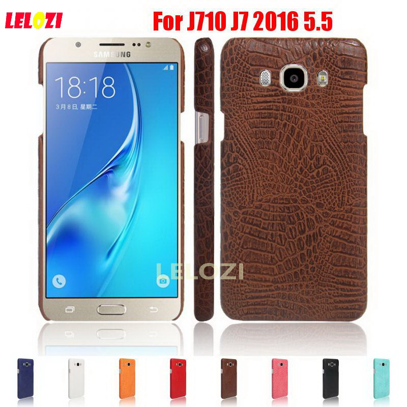 LELOZI Crocodile Snake Pattern Hard PC PU Leather Lether Phone Etui Coque Case shell For Samsung Galaxy J710 J7 2016 5.5 J 7 ...