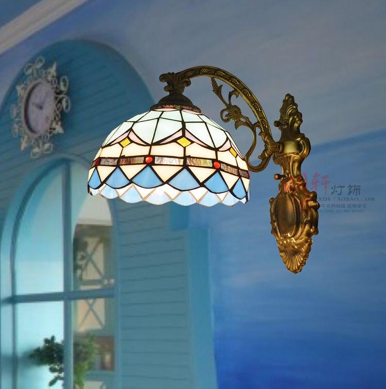 Здесь можно купить     bathroom mirror lamp Tiffany Mediterranean Mermaid blue single head lamp  bedside wall lamp Свет и освещение