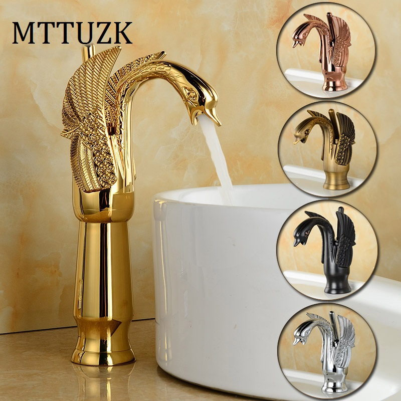 MTTUZK Deck Mounted  Luxury  Antique Brass Hot and Cold Mixer Taps Swan faucet Gold plated wash basin faucet Height Up Faucet pastoralism and agriculture pennar basin india