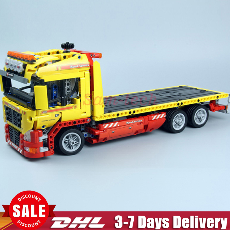 2018 Lepin 20021 technic series 1115pcs Flatbed trailer Model Building blocks Bricks Compatible Toys Educational Car 8109 lepin 21003 series city car classical travel car model building blocks bricks compatible technic car educational toy 10252