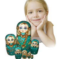 7pcs Wooden Russian Nesting Dolls Braid Girl Traditional Matryoshka Dolls Hand Painted Decoration Craft Gifts