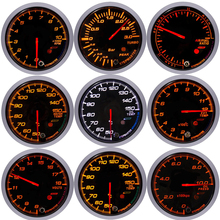 universal 60MM Oil temperature Gauge rpm meter Boost bar Water Temp Pressure Tachometer Volt Air Fuel Ratio Vacuum Gauges