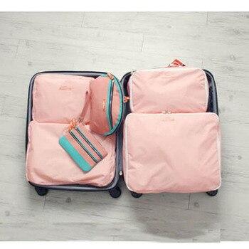 2018 New Fashion  5 pcs/set Women Luggage Travel Bags Storage Bag Shoes Bags Nylon Men Packing Cubes Organizer Bags Wholesale Travel Bags & Luggage