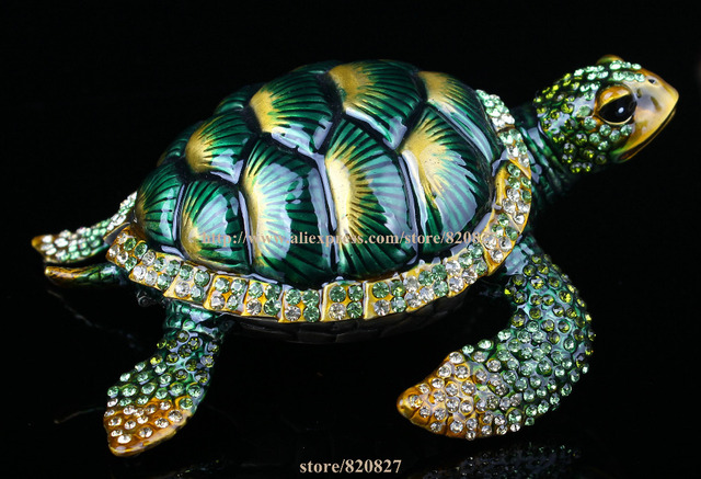Beautiful Sea Turtle Crystal Studded Pewter Jewelry Trinket Box Gift