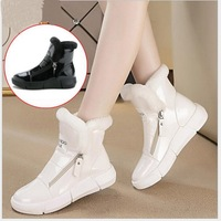 Women Casual Shoes Winter Women Sneakers Fashion Patent Leather Warm Plush Breathable Flats snow boots High Top Women Shoes