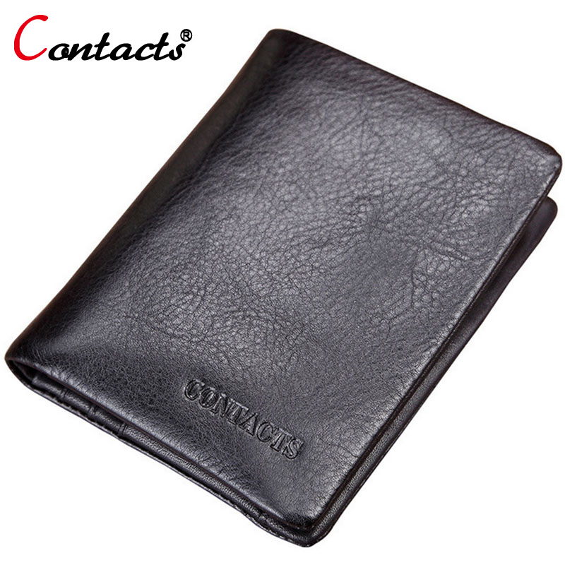 CONTACT'S Brand Men Short Wallets Genuine Leather Wallet Vintage Purse Men Black ID Card Holder Wallet Men Carteira Coin Purse