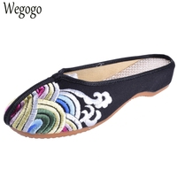 Summer Women Slippers Black Wave Cotton Old Peking Sandals Chinese Flower Embroidered Elegant Ladies Cloth Shoes